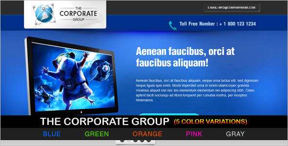 Corporate jQuery Landing Page Effect