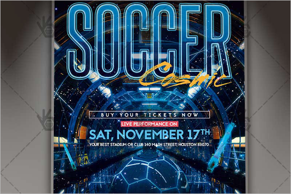 Cosmic Soccer Flyer PSD Template