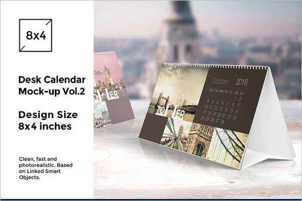 Creative Mock Up Desk Calendar Design