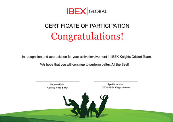 Cricket Participation Certificate Template