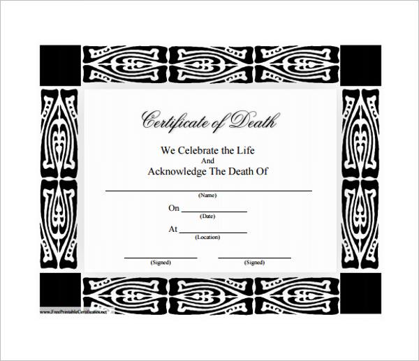 Death Certificate Format