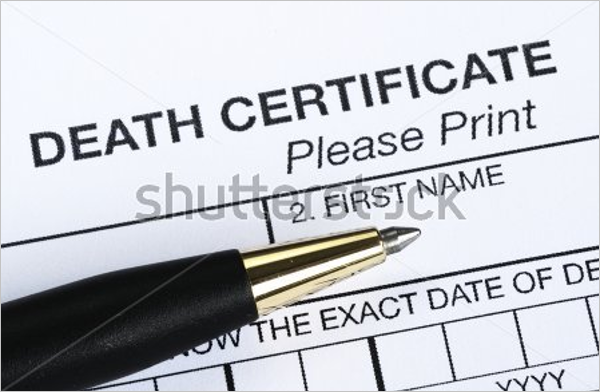 Death Document Certificate Template