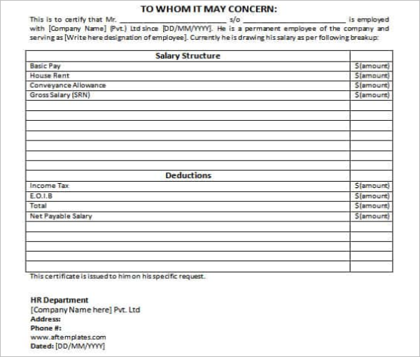 Download Sample Microsoft Salary Certificate Template
