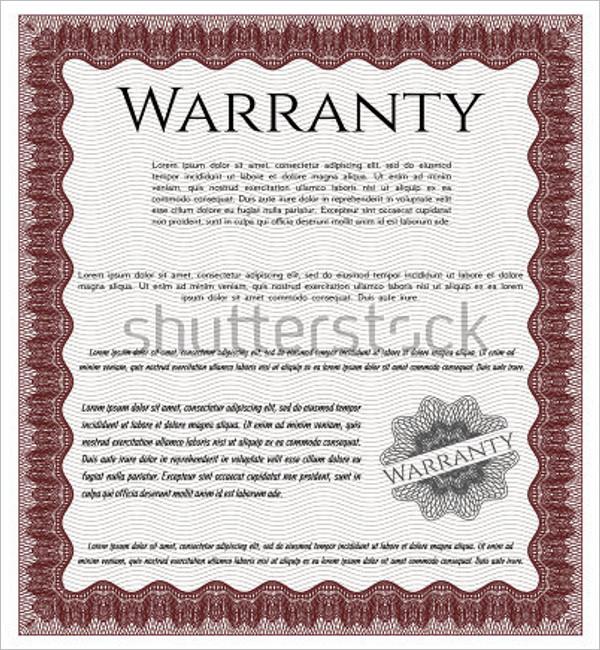Warranty Certificate Templates Free Premium Samples