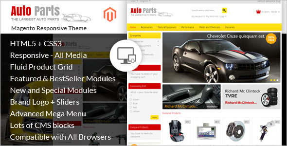 E-commerce Auto Parts Magento Theme
