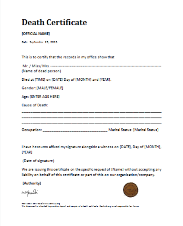 Death certificate templates free premium samples creative template editable death certificate template yadclub Gallery