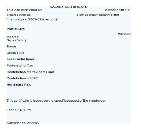 Editable Salary Certificate Format in Word