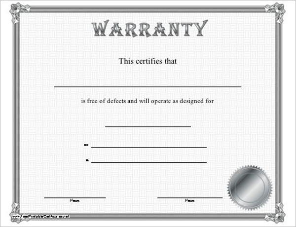 Editable Warranty Certificate