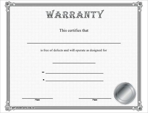 Editable Warranty Certificate