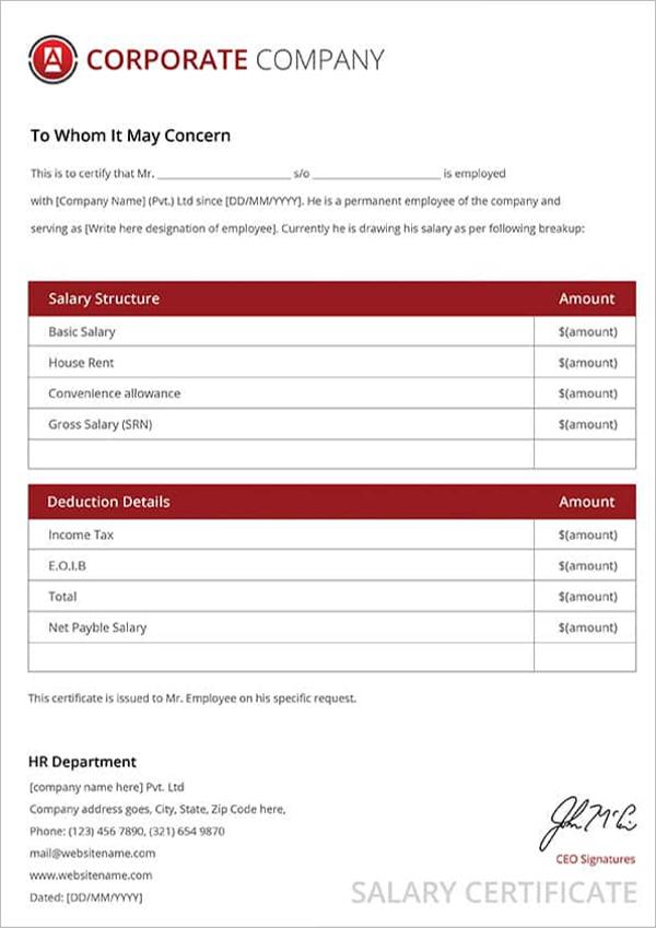 Elegant Salary Certificate Template Free Download