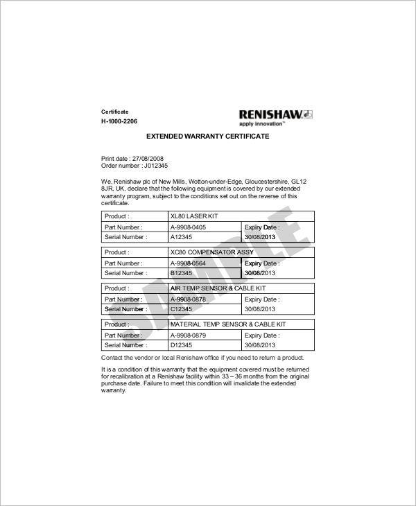 Extended Warranty Certificate Template