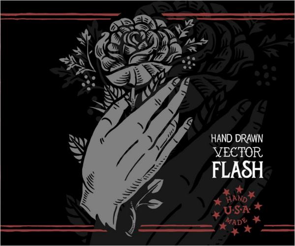 Flash Rose Tattoo Design