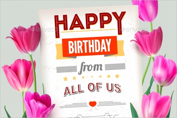 Flower Birthday Poster Design