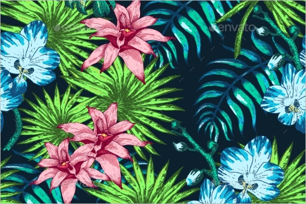 Flowers Tropical Vector Pattern