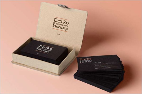 Free Dark Business Card Mockup