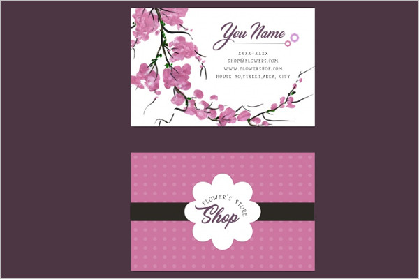 Free Pink flower's store business card Design