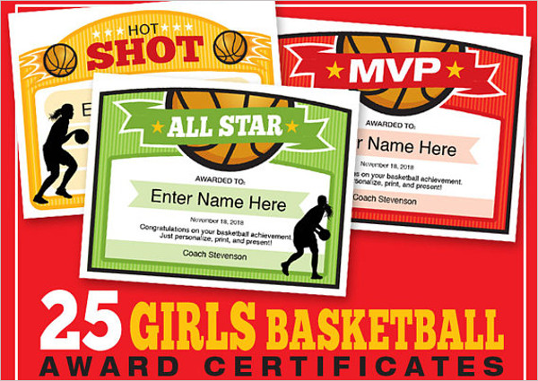 Girls Basketball Certificate Template