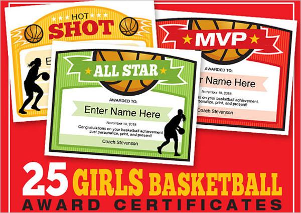 Girls Basketball Certificate Template