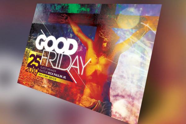 Good Friday Church Flyer Vector
