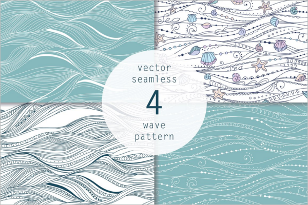 Graphic Blue Wave Pattern