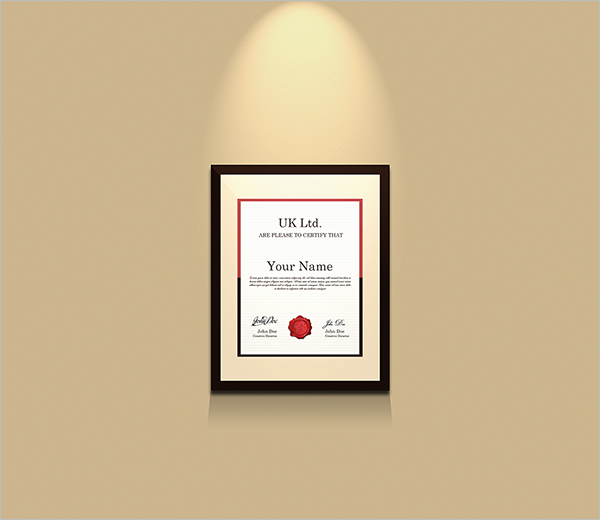 Holder Certificate Template