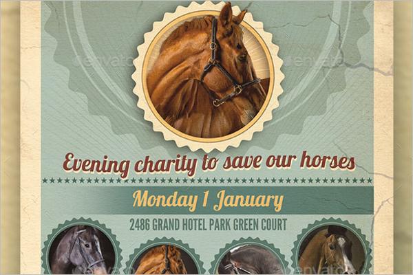 Horse Party Flyer Design