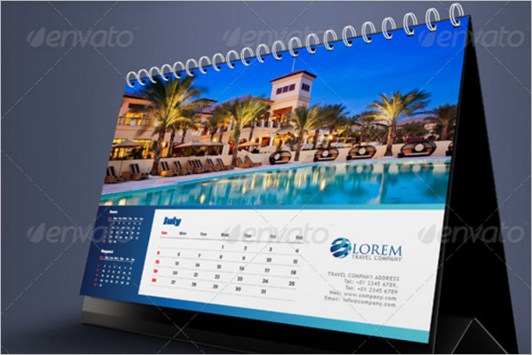 Hotel Background Desk Calendar Design