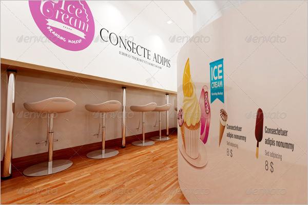 Ice Cream Wall Logo Mockup