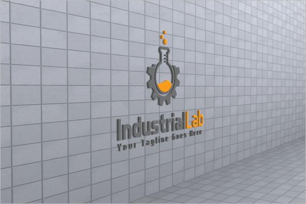 Industrial Wall Logo Mockup