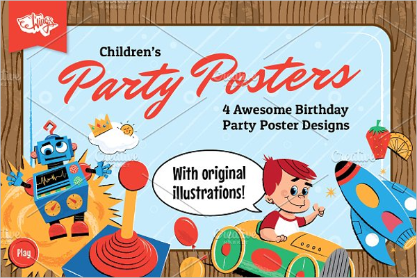 Kids Birthday Party Poster Design