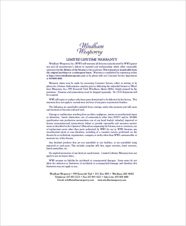 Lifetime Warranty Certificate Template
