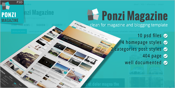 Magazine Blog & News PSD Template