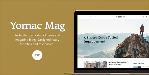 Magazine and Blog PSD Template
