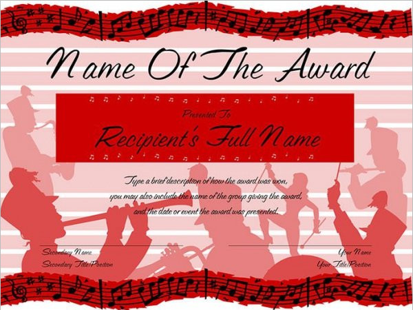 Marching Band Award Certificate
