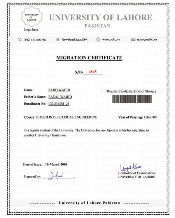 Migration Certificate Template