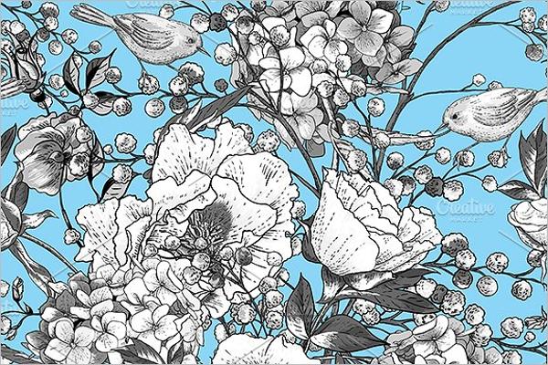 Monochrome Mimosa Pattern