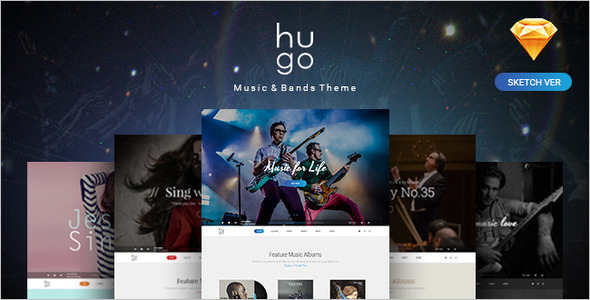 Music & Bands Sketch PSD Template