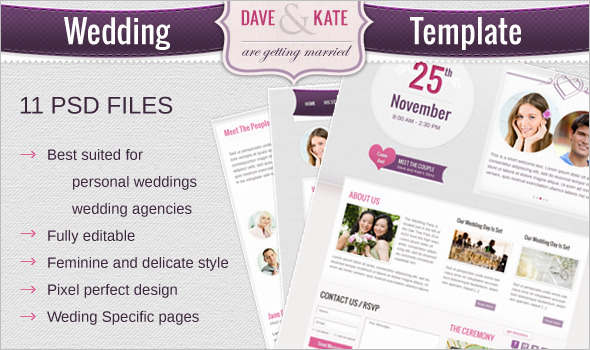 New Wedding PSD HTML Template