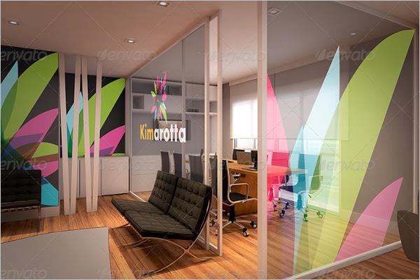 Office Interior Wall Logo Mockup