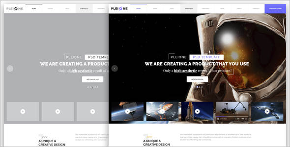 One Page PSD Sketch Template