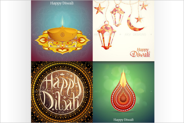 Outstanding Diwali greeting card Vector