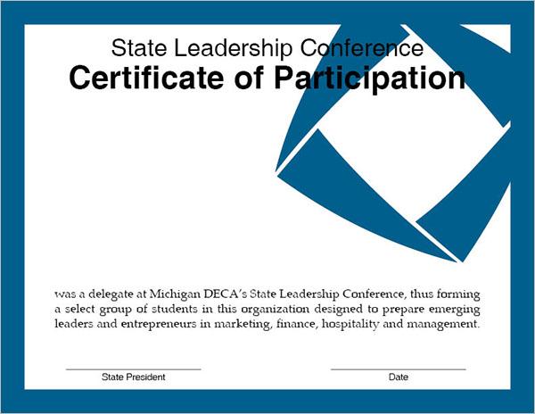 Participation Certificate Formate