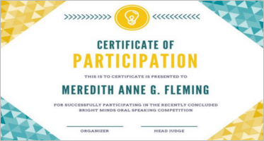 Participation Certificate Templates