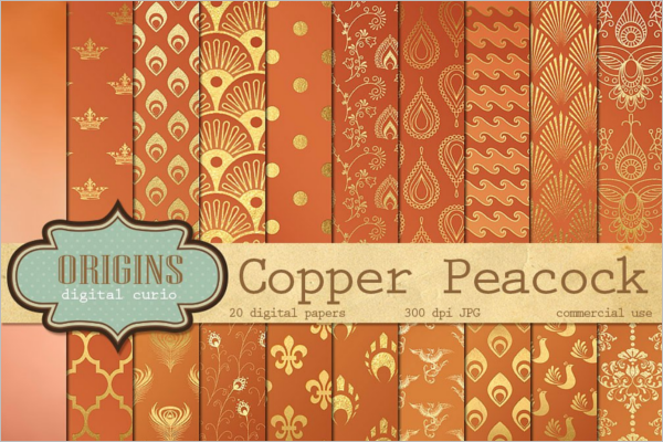 Peacock Copper Digital Paper
