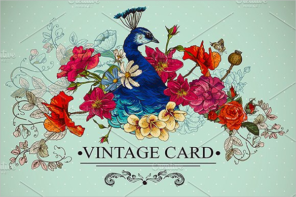 Peacock Floral Vintage Card