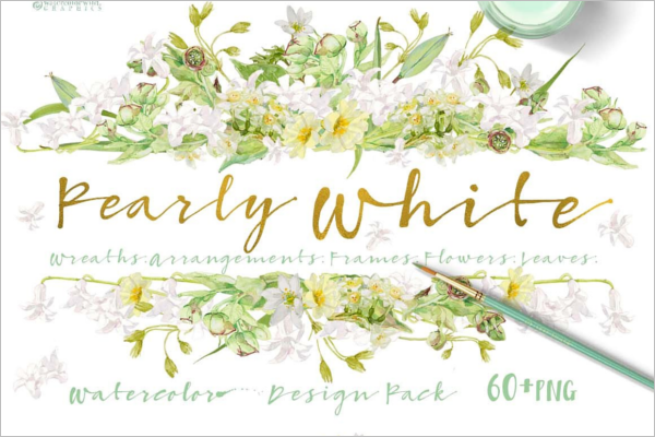 Pearly White Floral Element