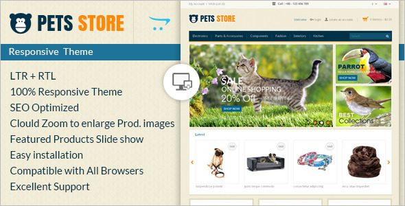 Pet Store E-commerce OpenCart Template