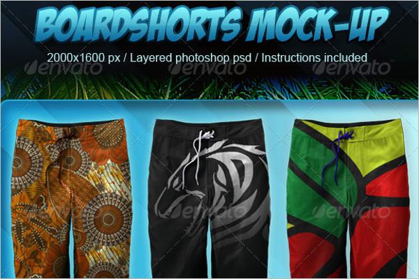 Photorealistic Boardshorts Mockup Photoshop Logo