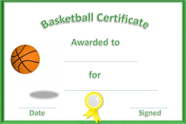 Printable Basketball Cartificate Template