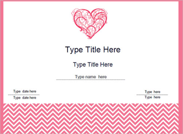 Printable Valentine's Day Certificate Template